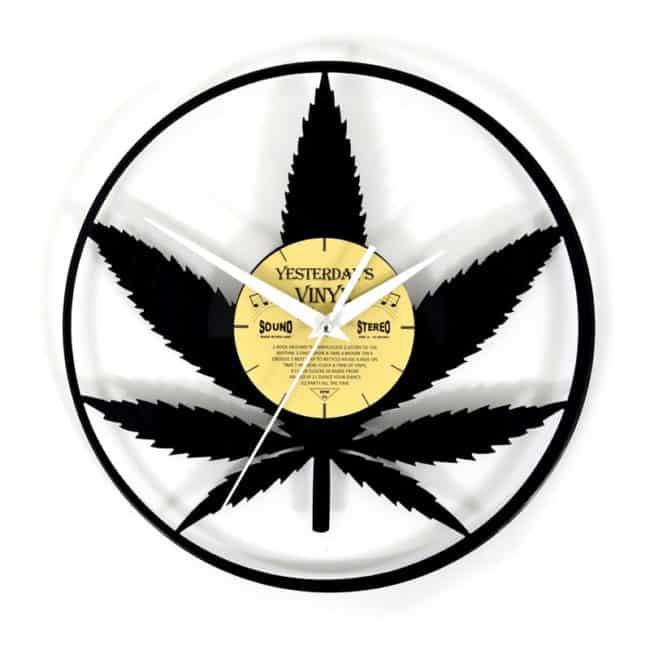 LP Clock Cannabis Leaves